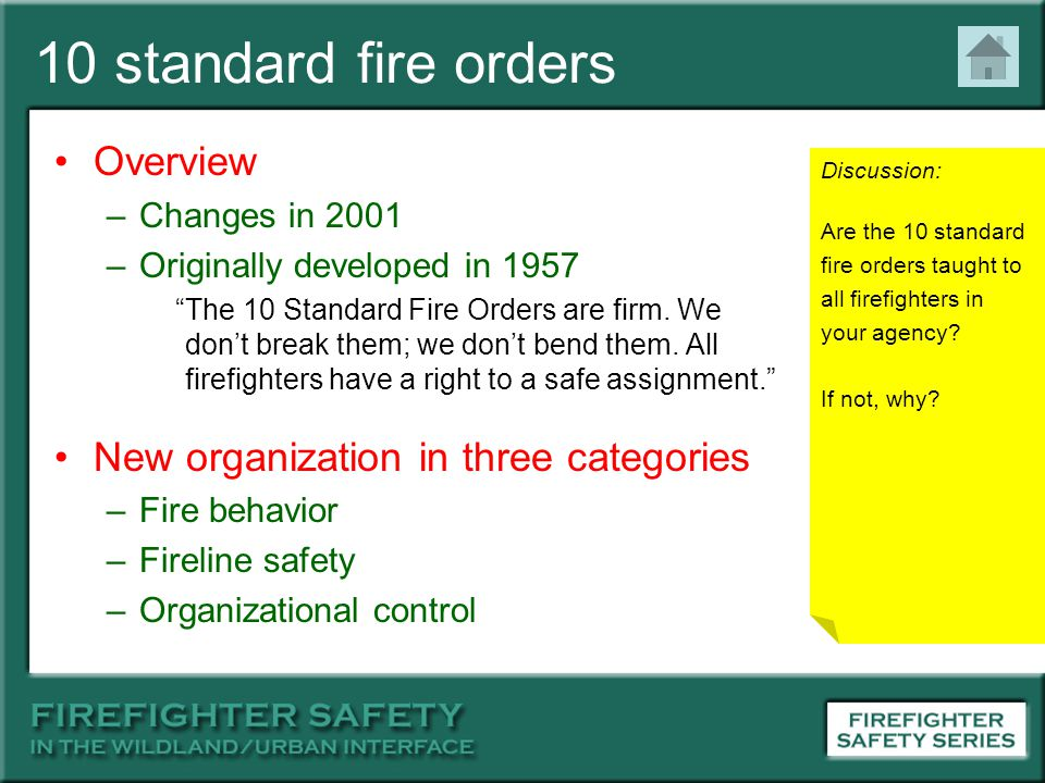 10 standard fire orders Overview New organization in three categories