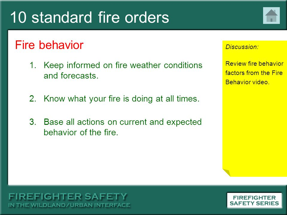 10 standard fire orders Fire behavior