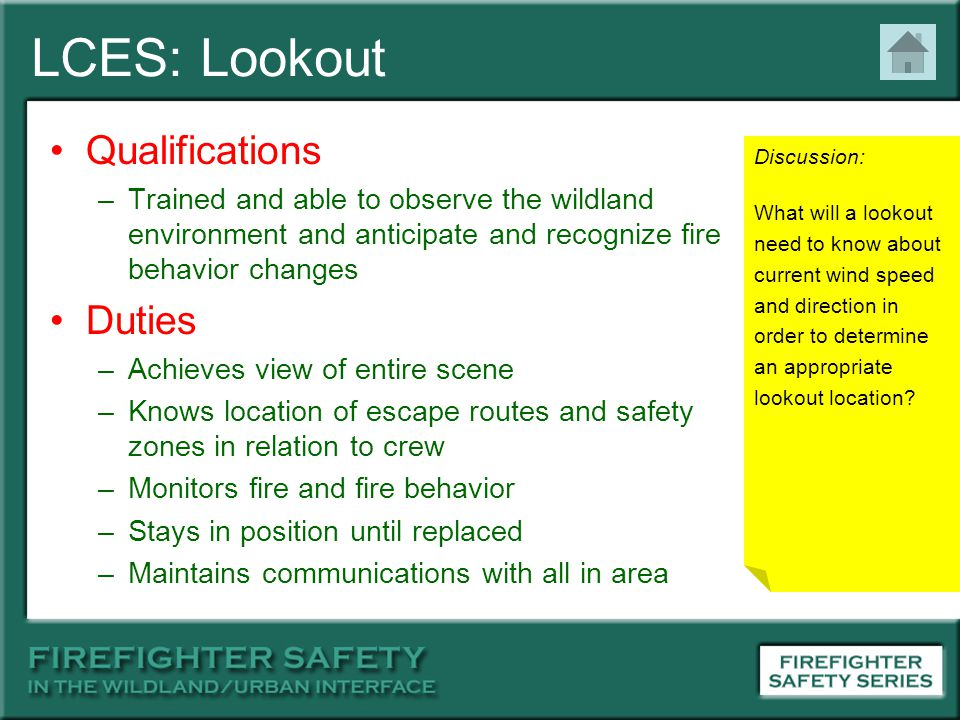 LCES: Lookout Qualifications Duties