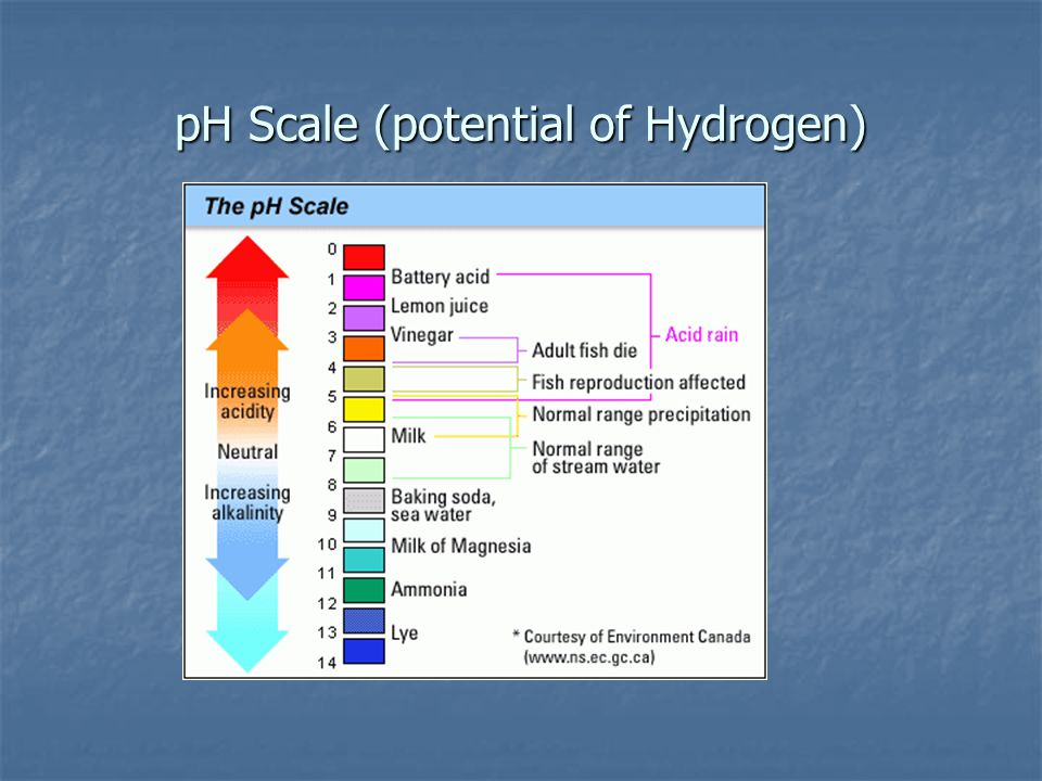 pH Scale (potential of Hydrogen)
