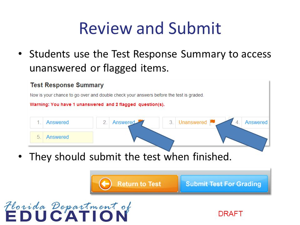 Review and Submit Students use the Test Response Summary to access unanswered or flagged items. They should submit the test when finished.