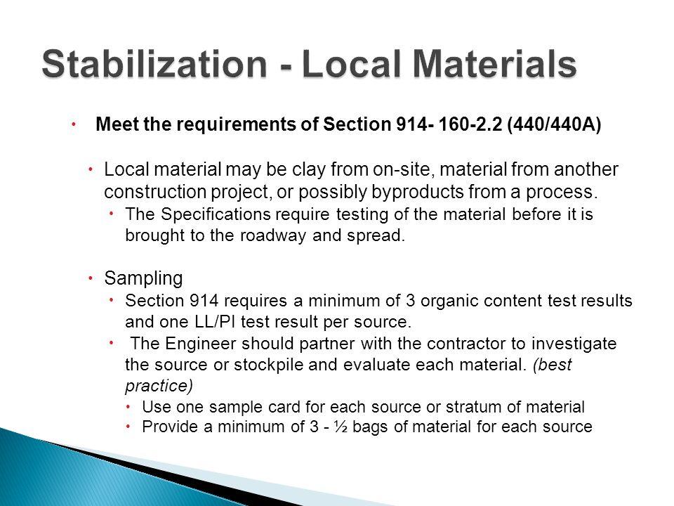 Stabilization - Local Materials
