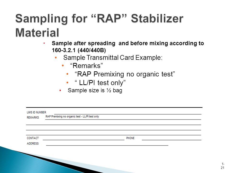 Sampling for RAP Stabilizer Material