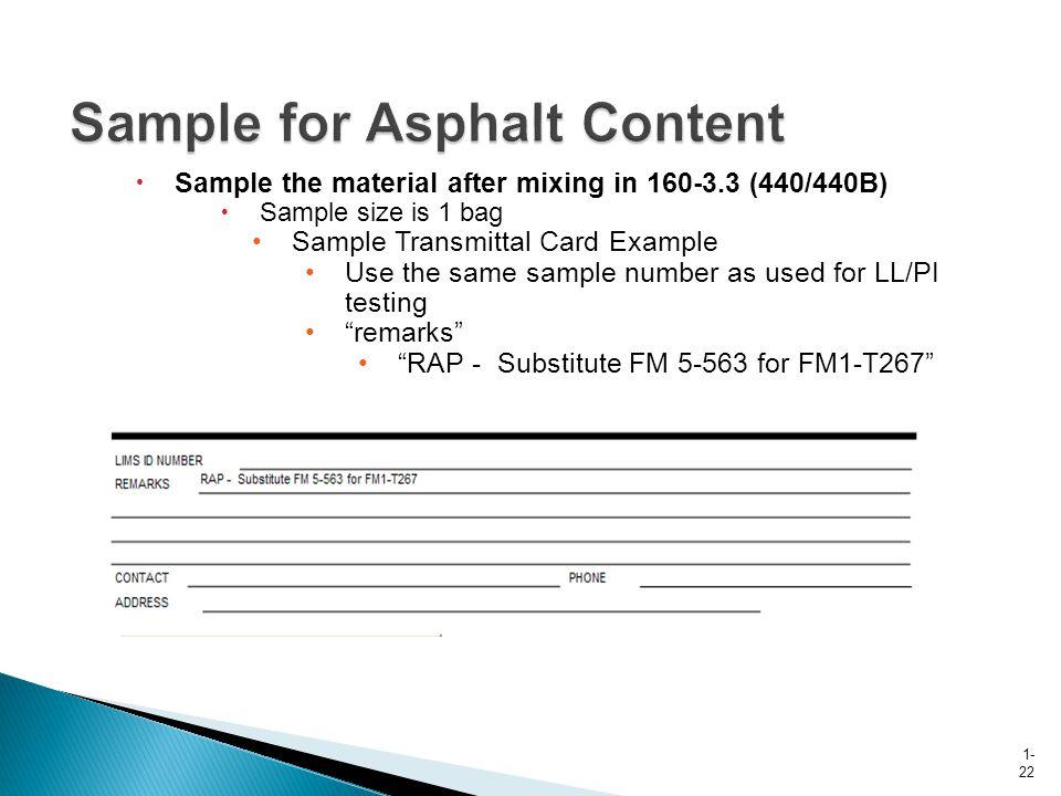 Sample for Asphalt Content