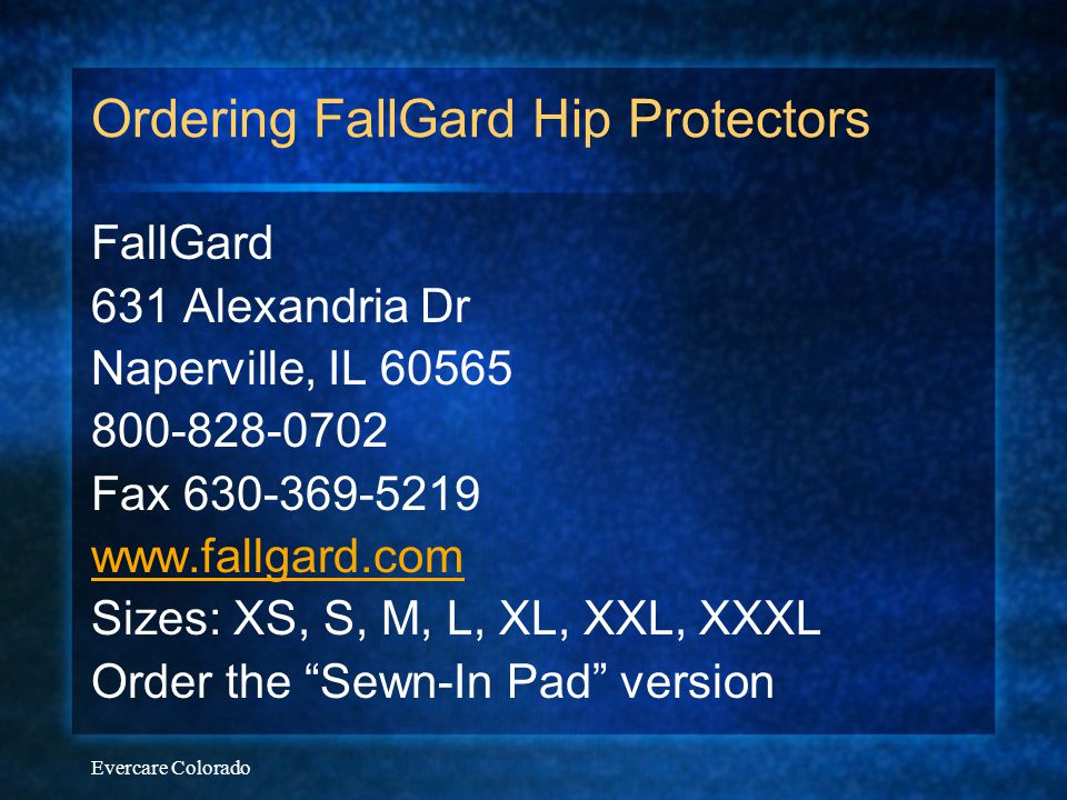 Ordering FallGard Hip Protectors
