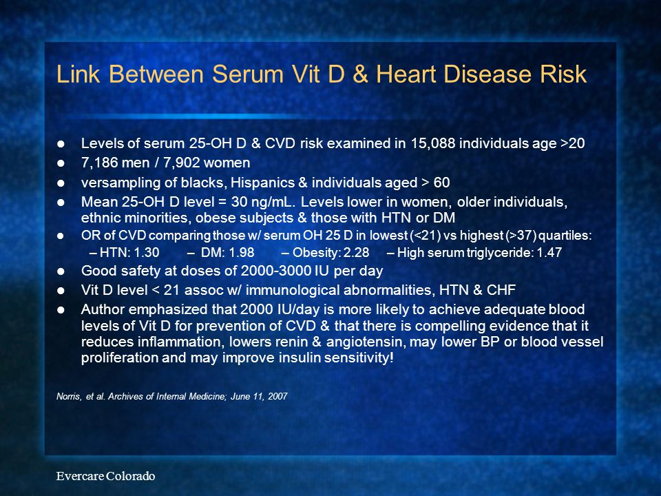 Link Between Serum Vit D & Heart Disease Risk
