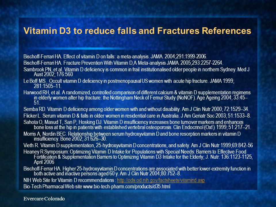 Vitamin D3 to reduce falls and Fractures References