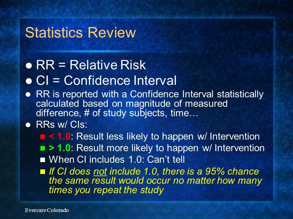 Statistics Review RR = Relative Risk CI = Confidence Interval