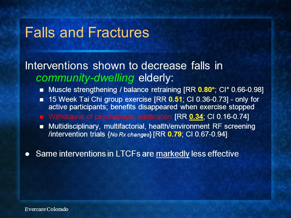 Falls and Fractures Interventions shown to decrease falls in community-dwelling elderly: