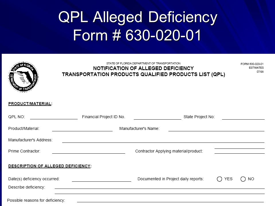 QPL Alleged Deficiency Form # 630-020-01