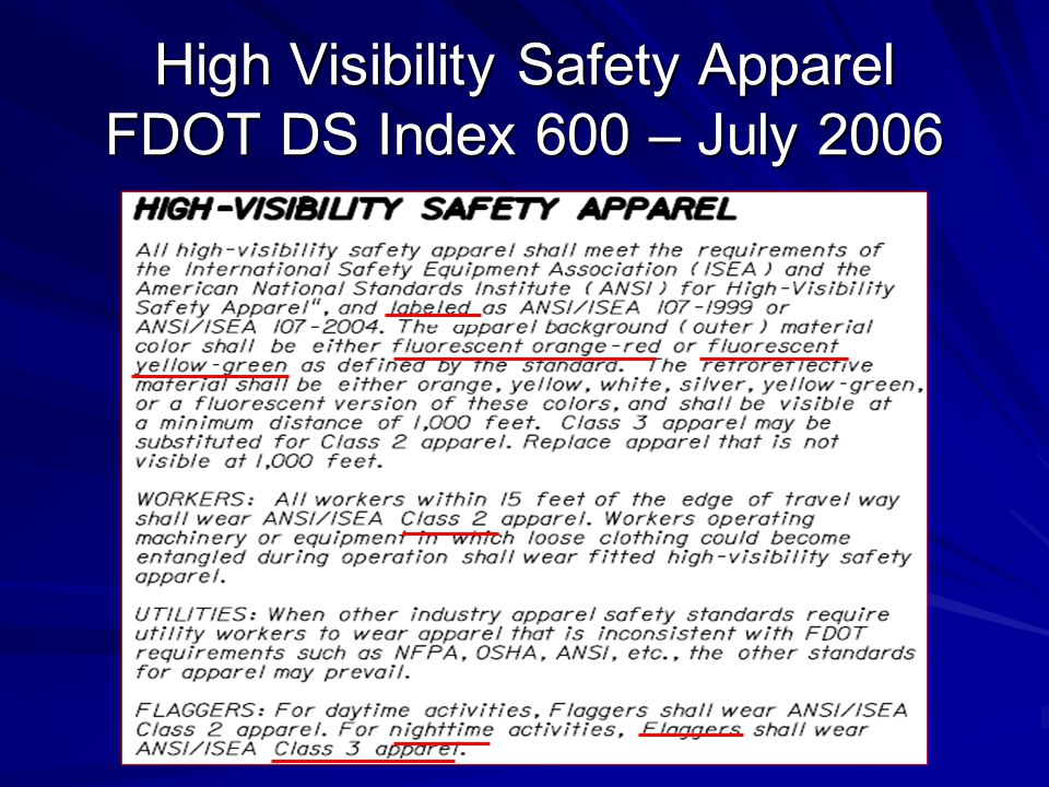 High Visibility Safety Apparel FDOT DS Index 600 – July 2006