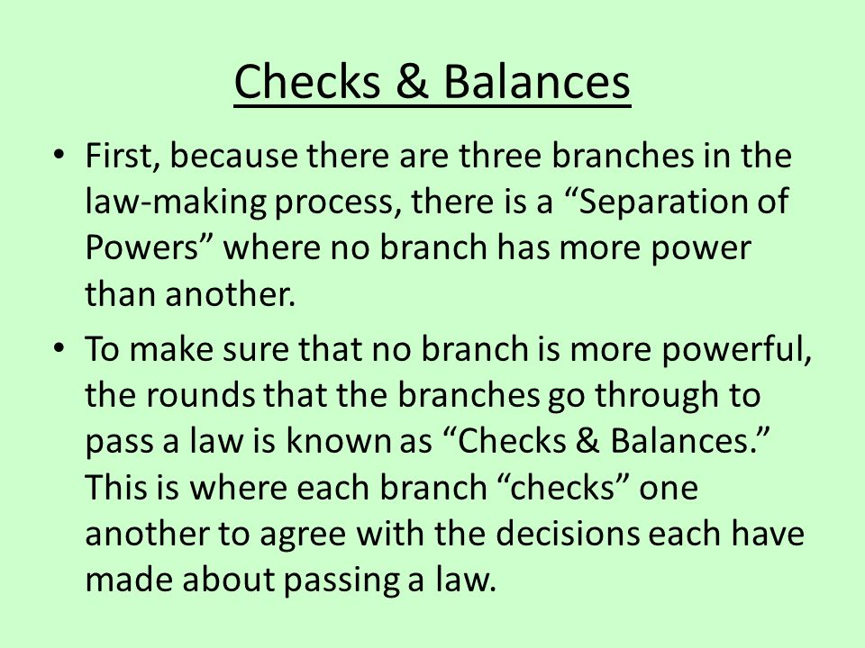 Checks & Balances