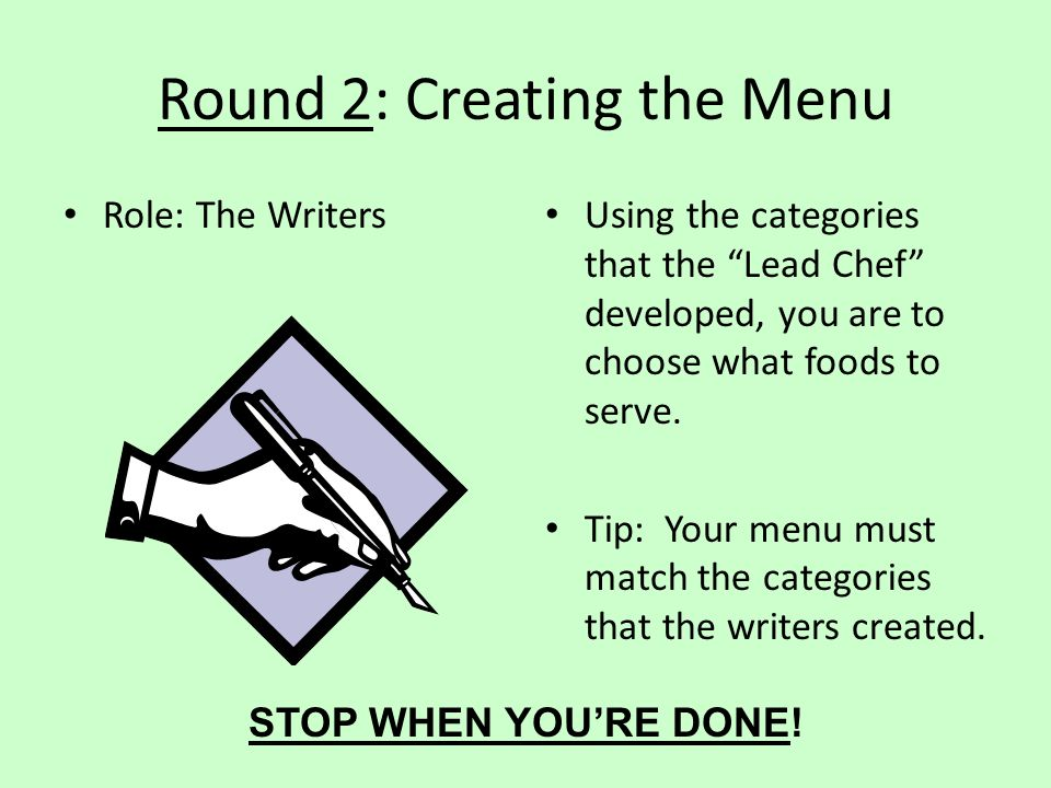 Round 2: Creating the Menu