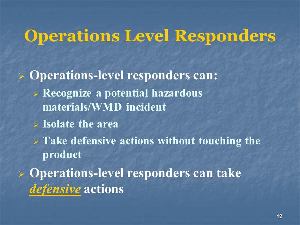 Operations Level Responders