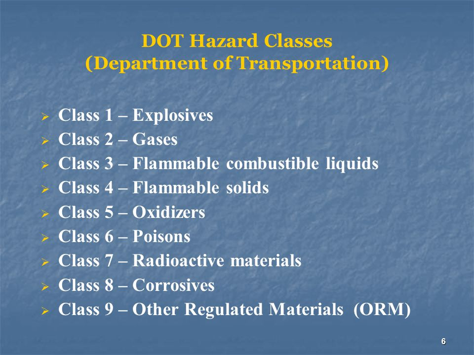 DOT Hazard Classes (Department of Transportation)