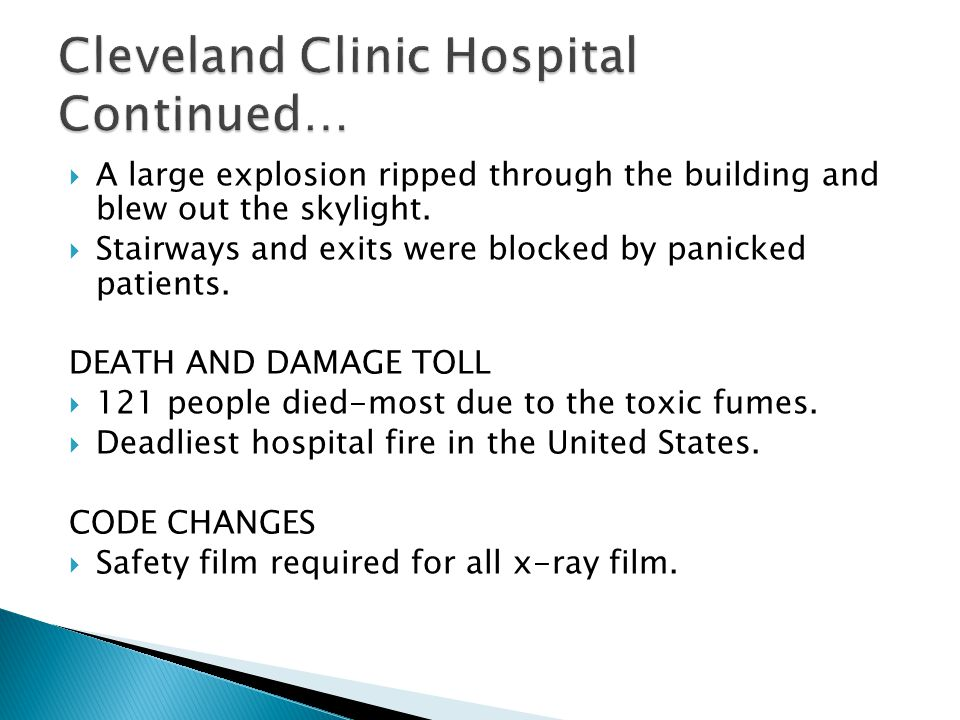 Cleveland Clinic Hospital Continued…