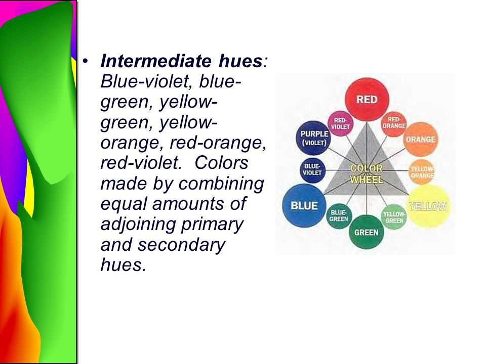 Intermediate hues: Blue-violet, blue-green, yellow-green, yellow-orange, red-orange, red-violet.