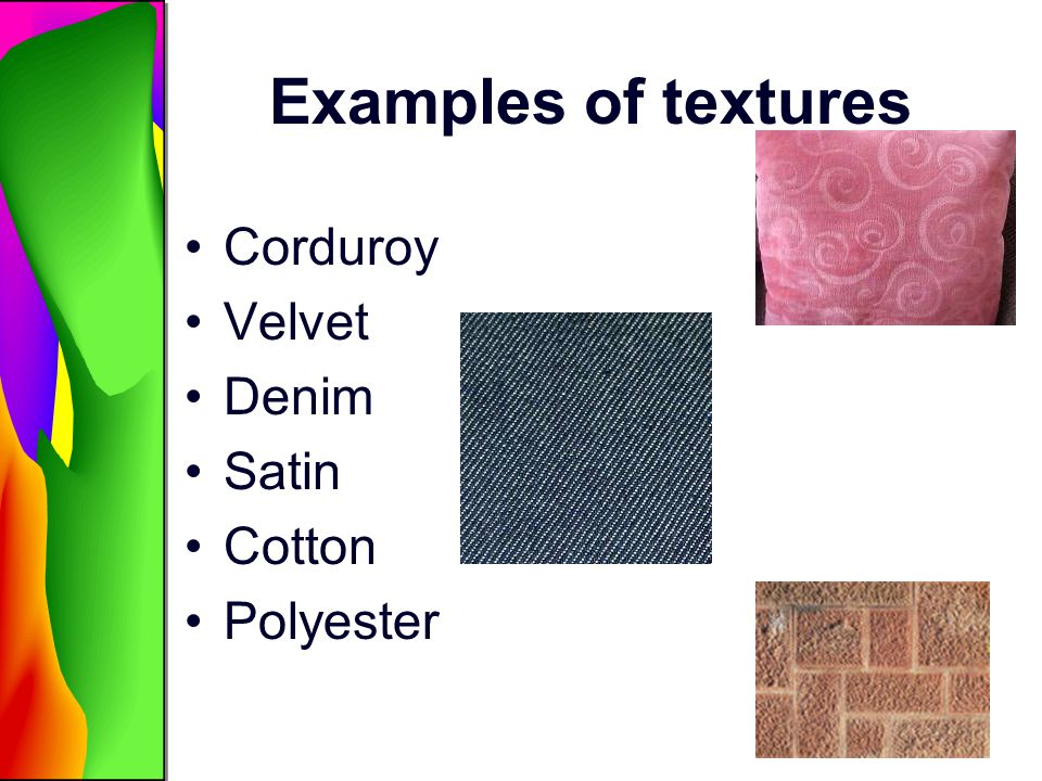 Examples of textures Corduroy Velvet Denim Satin Cotton Polyester