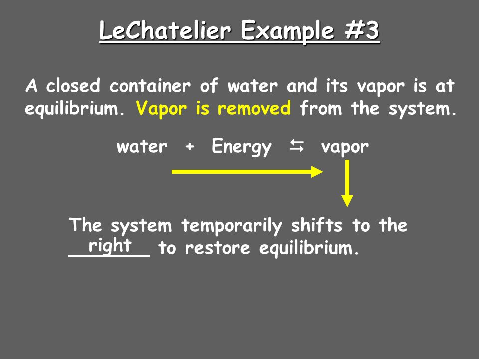 LeChatelier Example #3 A closed container of water and its vapor is at equilibrium. Vapor is removed from the system.