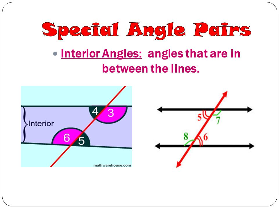 Interior Angles: angles that are in between the lines.