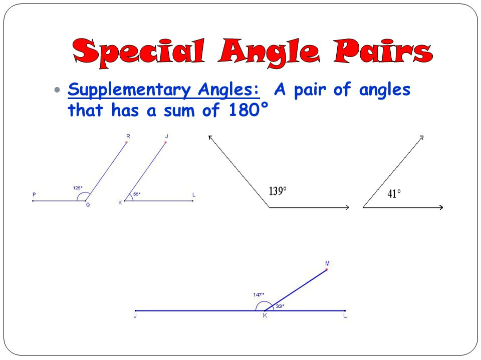 Special Angle Pairs Supplementary Angles: A pair of angles that has a sum of 180°