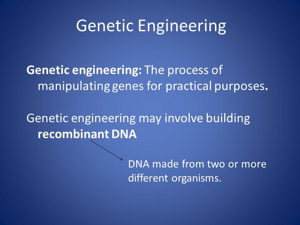 Genetic Engineering Genetic engineering: The process of manipulating genes for practical purposes.