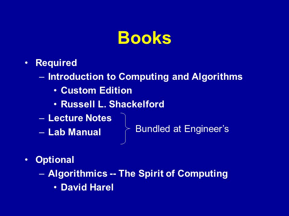 Books Required Introduction to Computing and Algorithms Custom Edition