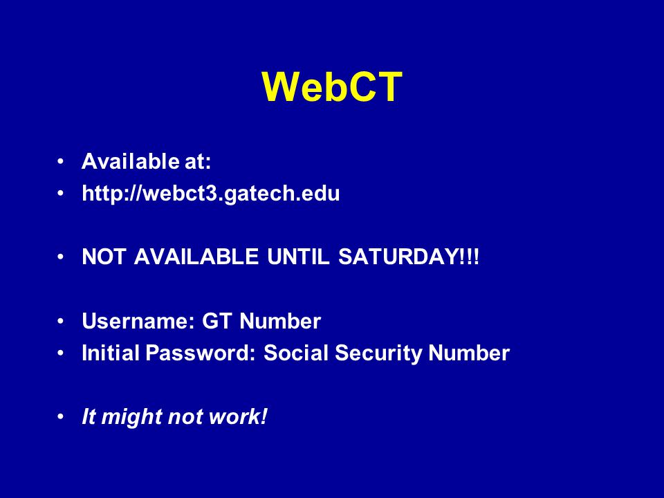 WebCT Available at: