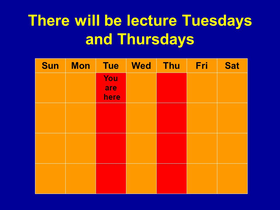 There will be lecture Tuesdays and Thursdays