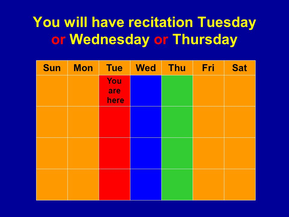 You will have recitation Tuesday or Wednesday or Thursday