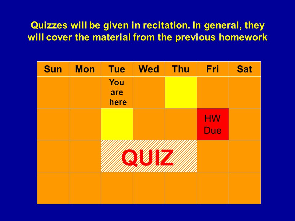 Quizzes will be given in recitation