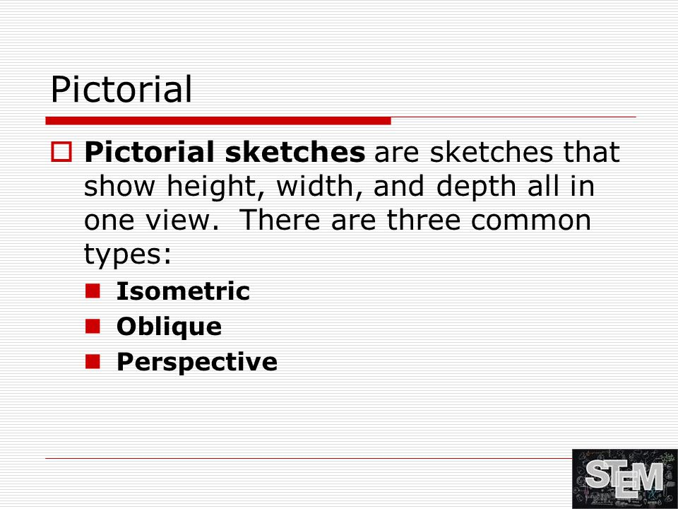 Pictorial Pictorial sketches are sketches that show height, width, and depth all in one view. There are three common types:
