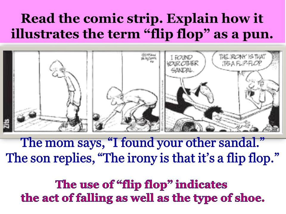 Read the comic strip. Explain how it illustrates the term flip flop as a pun.