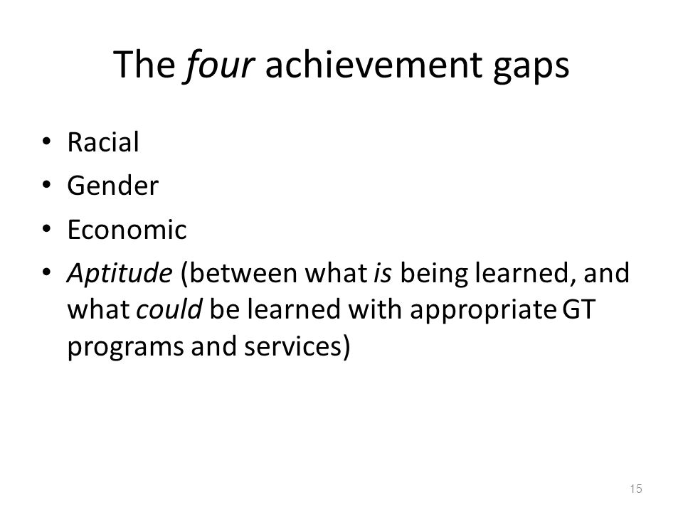 The four achievement gaps