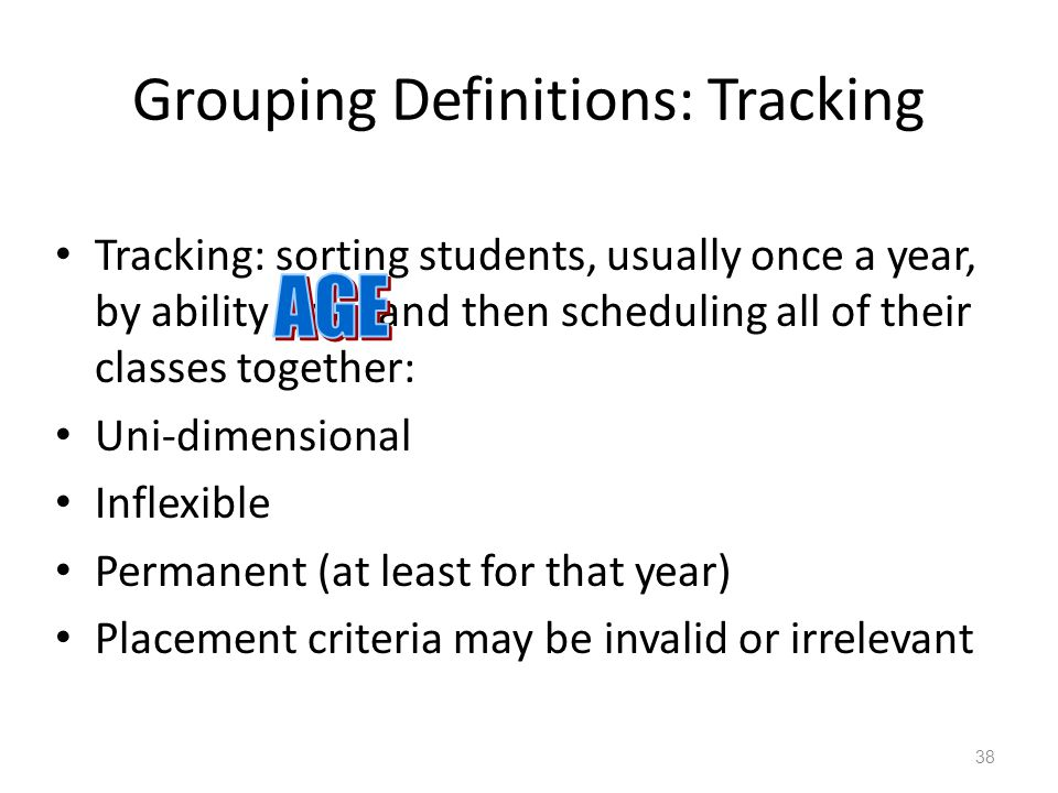 Grouping Definitions: Tracking