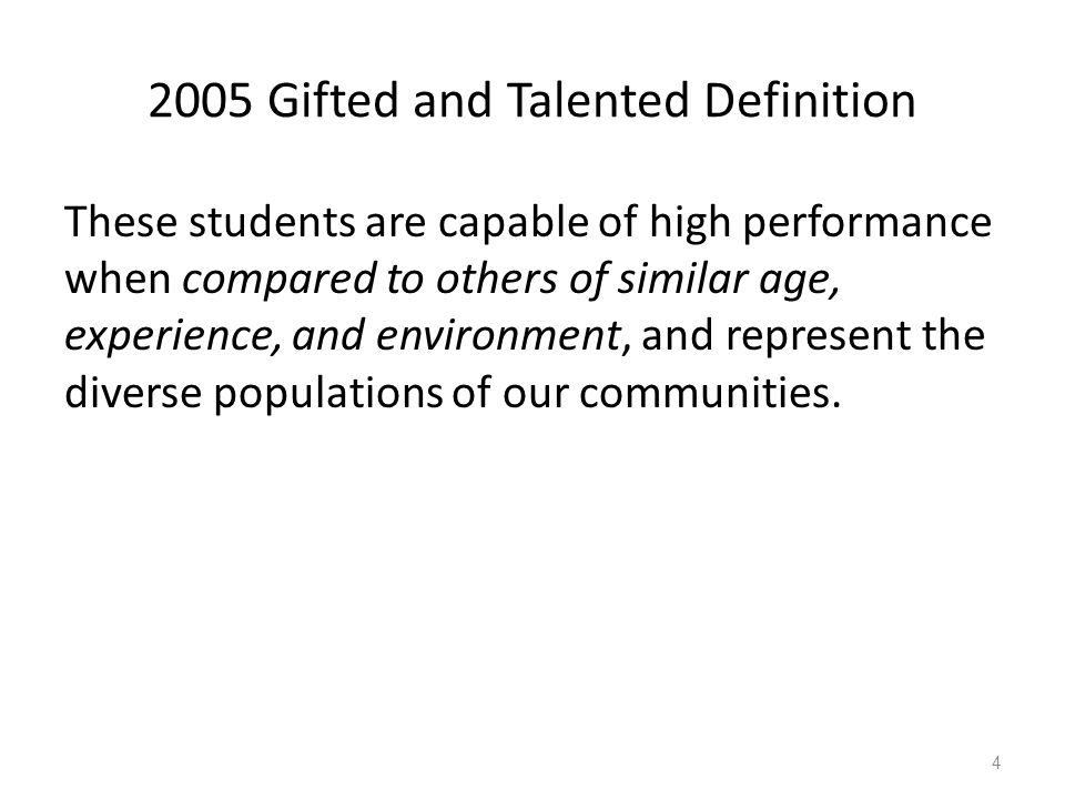 2005 Gifted and Talented Definition