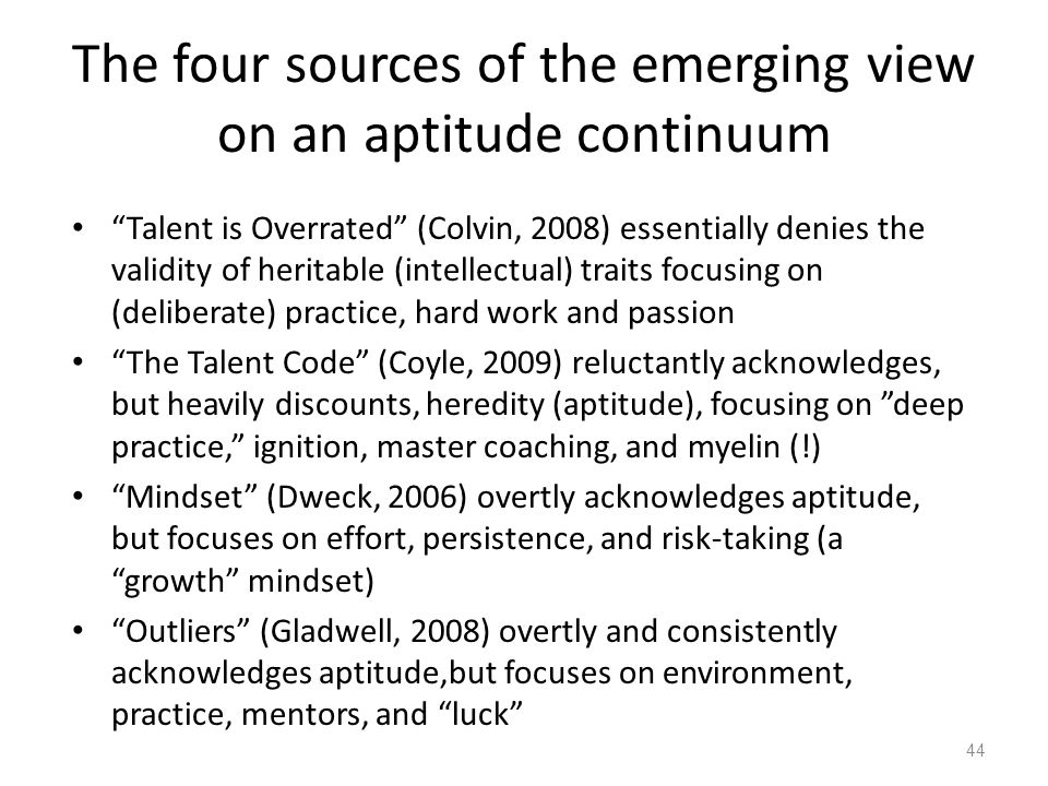 The four sources of the emerging view on an aptitude continuum