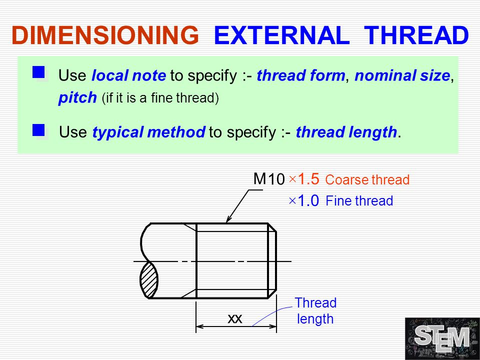 DIMENSIONING EXTERNAL THREAD