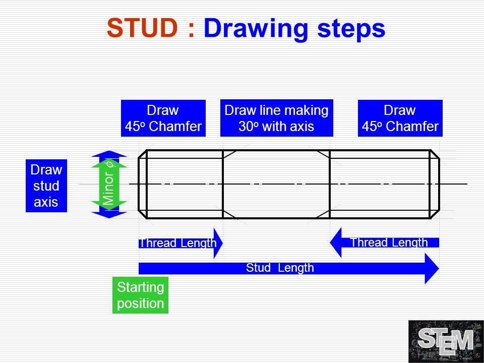 STUD : Drawing steps Draw 45o Chamfer Draw line making 30o with axis