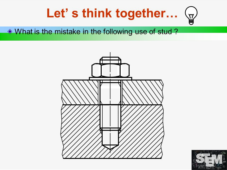 Let' s think together… What is the mistake in the following use of stud