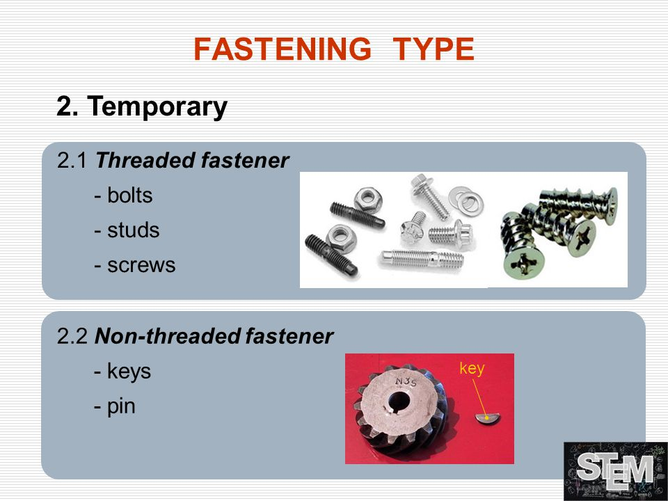 FASTENING TYPE 2. Temporary 2.1 Threaded fastener - bolts - studs