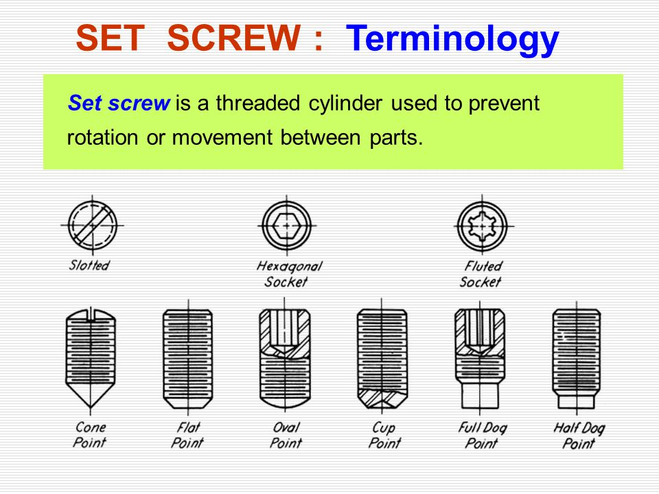 SET SCREW : Terminology