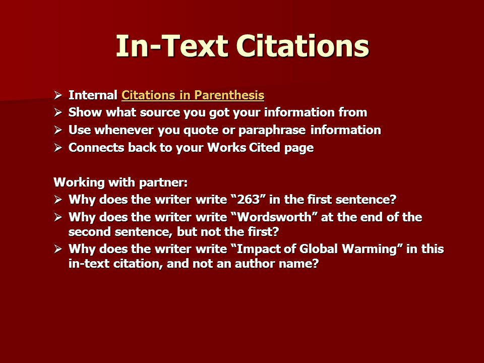 internal citations in a research paper It is important to properly and appropriately cite references in scientific research papers in order to acknowledge your sources and give credit where credit is due.