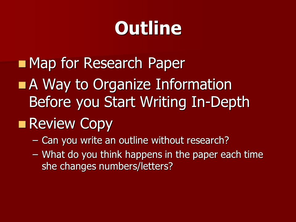 Outline Map for Research Paper