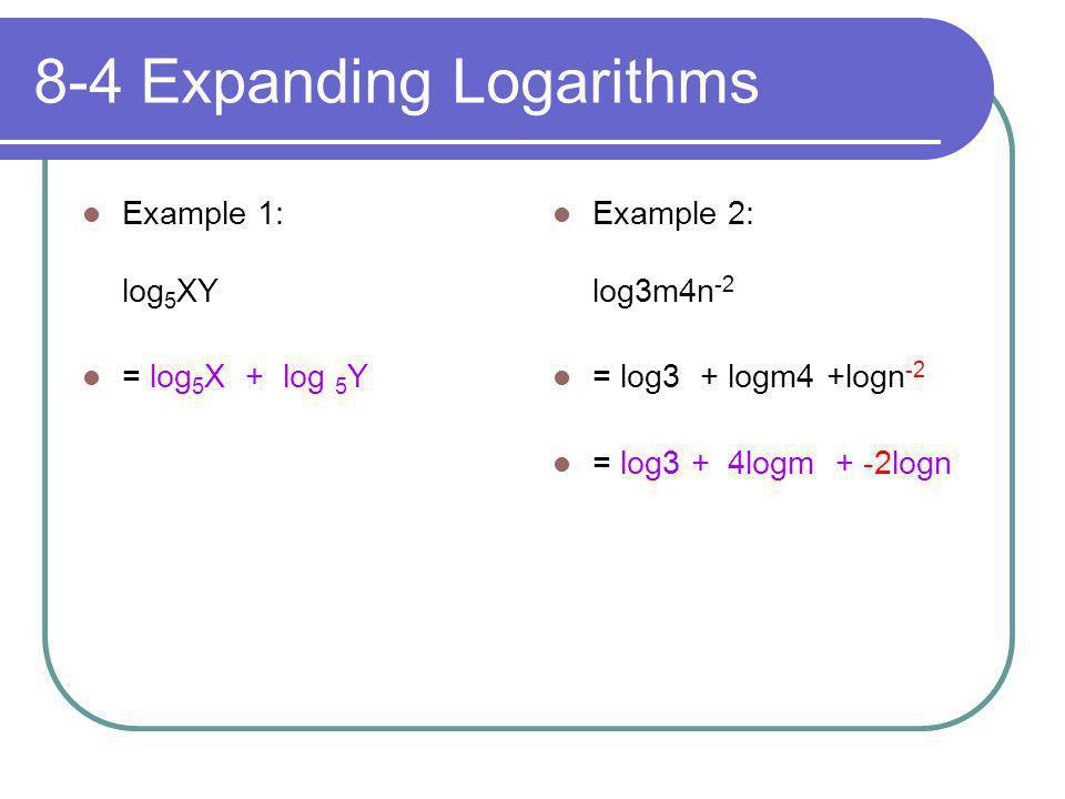 8-4 Expanding Logarithms