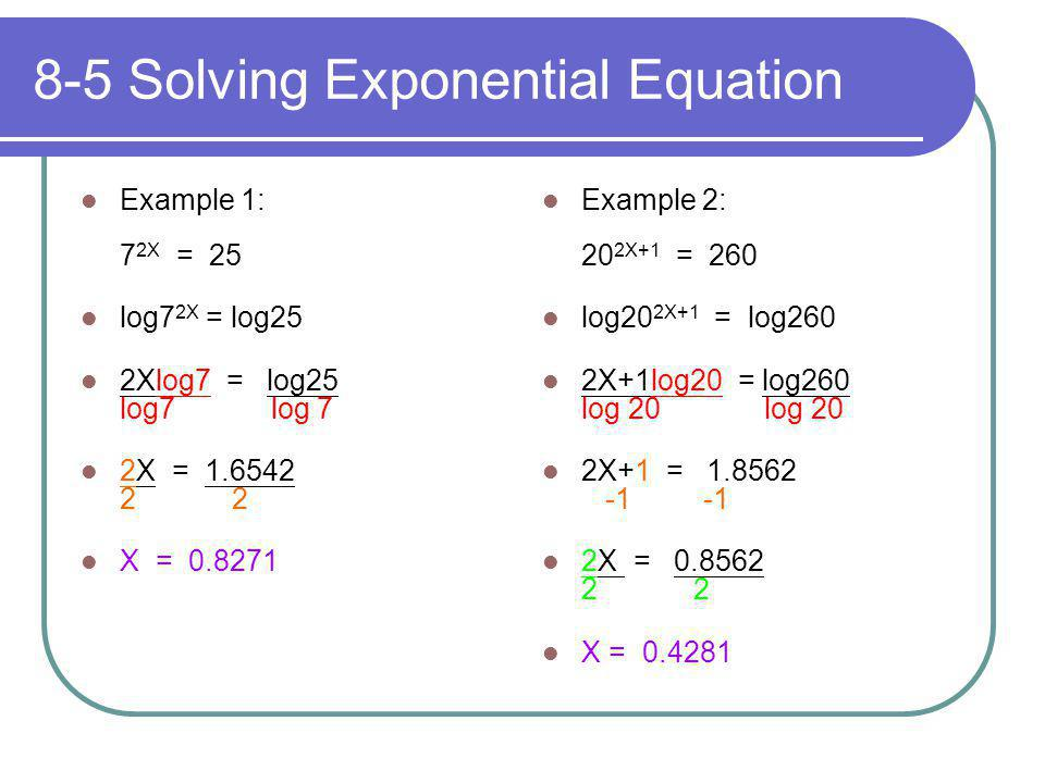 8-5 Solving Exponential Equation