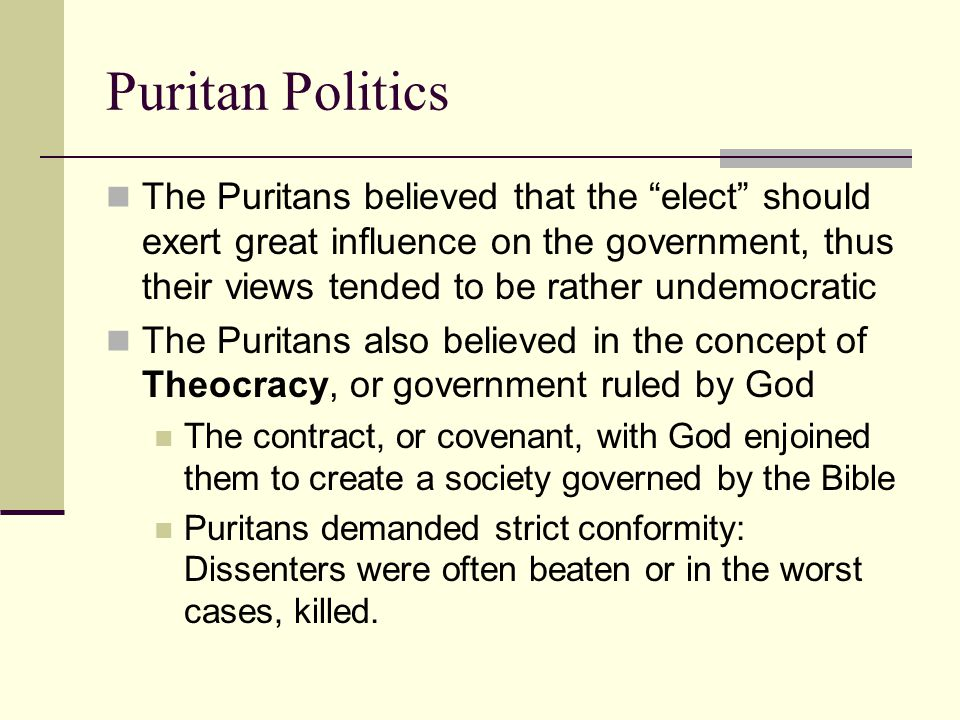the puritan influence Puritans the puritans were a group of people who grew discontent in the church of england and worked towards religious, moral and societal reforms.