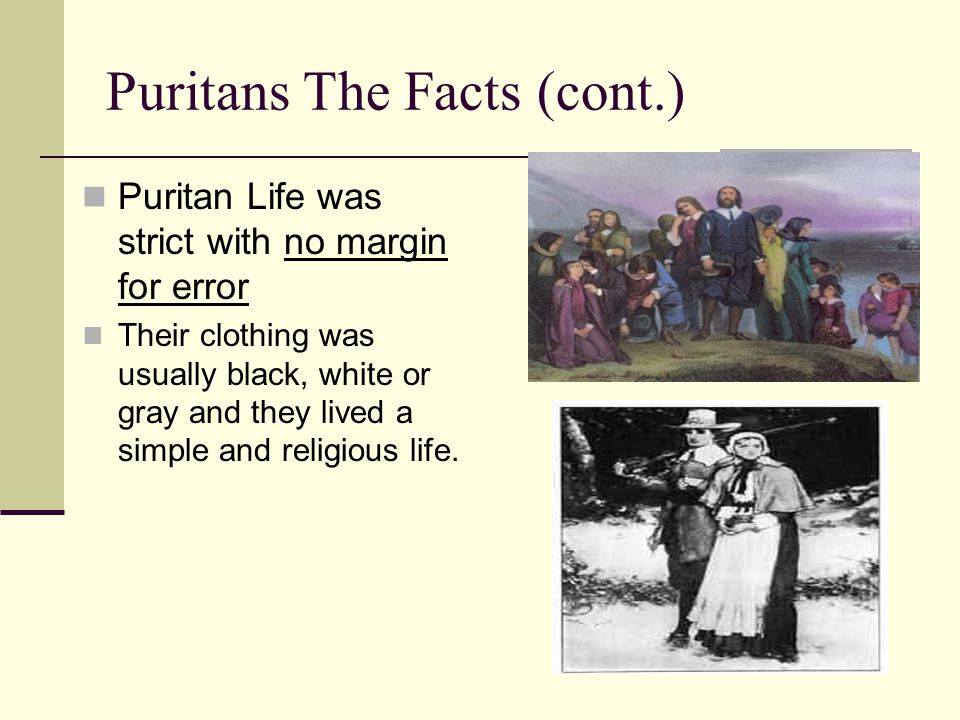 Puritans The Facts (cont.)