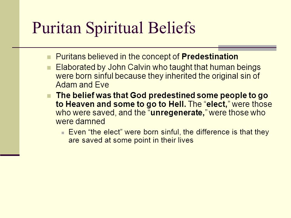 Puritan Spiritual Beliefs