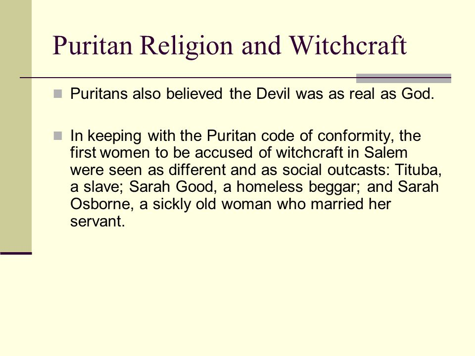 Puritan Religion and Witchcraft